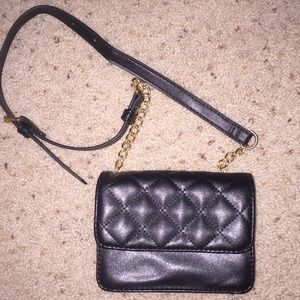 forever 21 faux leather black clutch